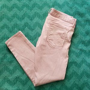 Mother The Looker Crop Skinny Ankle Jeans Pink